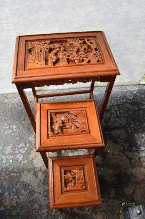 Set Of Three Wood Carving Table