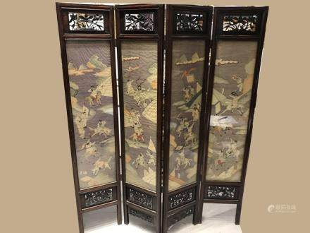 Chinese Double Side Silk Wood Screen