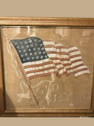 Embroidery American Flag in Frame
