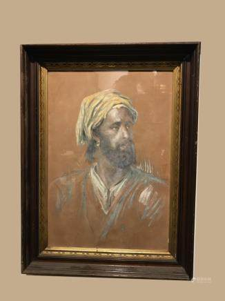 Pastel Painting of A Mid-East Man, Framed