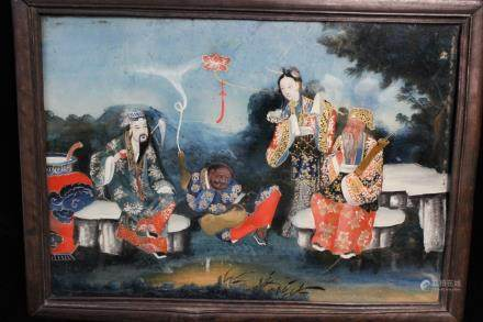 19th.C Chinese Reverse Glass Painting
