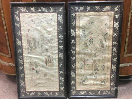 Pair of Chinese Silk Embroidery With Frame