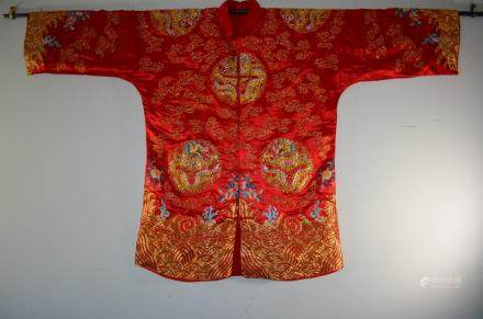 Marvelous Antique Chinese Silk Textile Dragon Robe