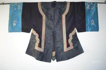 19th C. Chinese Black Silk Embroidery .