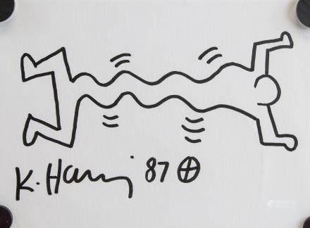 "Keith Haring American Pop Art Ink on Paper ""87"""
