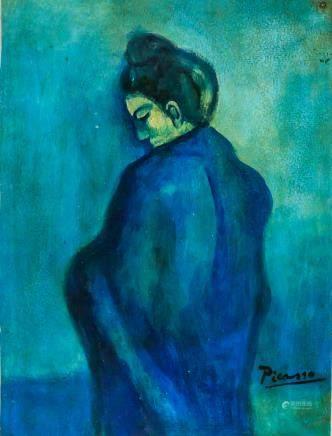 Blue Period Pablo Picasso Mixed Media on Paper COA