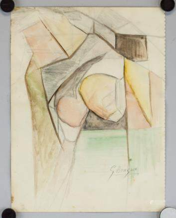 Georges Braque French Fauvist Mixed Media on Paper