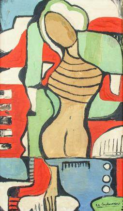 Le Corbusier Swiss-French Abstract Oil on Canvas