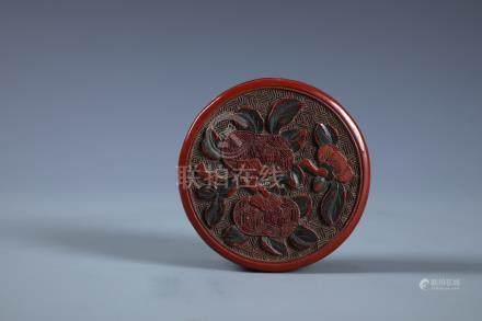 A CHINESE CARVED CINNABAR LACQUER BOX  OF POMEGRANATE
