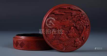 CARVED CHINESE CINNABAR LACQUER CIRCULAR SCHOLAR BOX