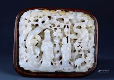 A Finely Carved White And Russet Jade Figure Of Maidens
