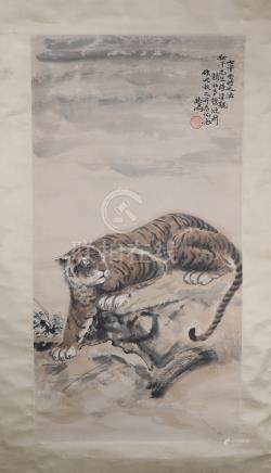 A CHINESE PAINTING OF TIGER SIGNED BY XU BEI HONG