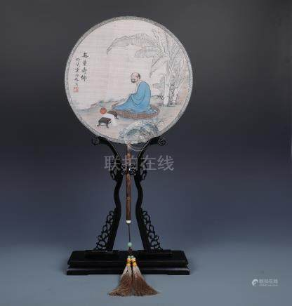 """A Circular Fan """"Amitayus Buddha"""" signed by Ye Xian"""