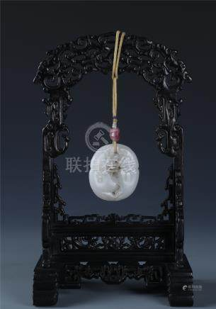 A WHITE JADE DOUBLE-GOURD  PENDENT AND ZITAN STAND