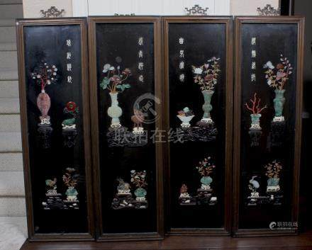 A CHINESE JADE AND HARDSTONE INLAID FOUR PANEL HARDWOOD
