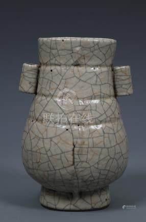 A RARE CHINESE GEYAO ARCHAISTIC HU-FORM VASE