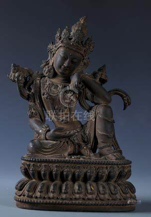 A RARE AND IMPORTANT FINELY CAST GILT BRONZE FIGURE OF