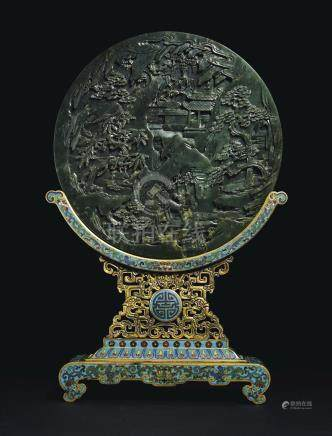A SPINACH-GREEN JADE CIRCULAR TABLE SCREEN AND A CLOISONNÉ ENAMEL STAND
