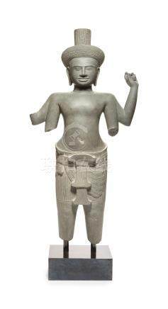 A SANDSTONE FIGURE OF A MALE DEITY