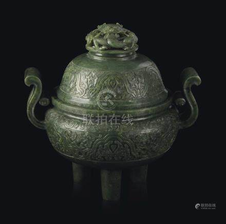 A LARGE SPINACH-GREEN JADE TRIPOD CENSER AND COVER