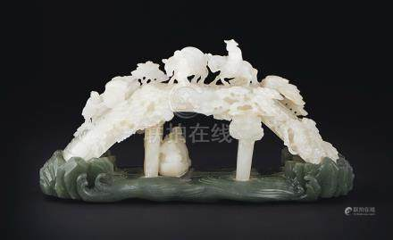 A RARE AND FINELY CARVED WHITE JADE ''BRIDGE SCENE'' BRUSH REST AND SPINACH-GREEN JADE BASE