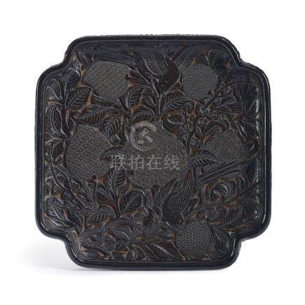A CARVED BLACK AND RED LACQUER SQUARE ''BIRDS'' TRAY