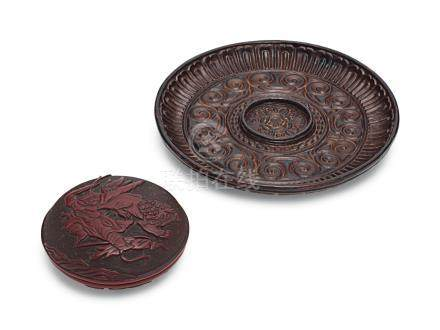 A TIXI LACQUER CIRCULAR CUP STAND AND A SMALL CARVED RED LACQUER BOX AND COVER