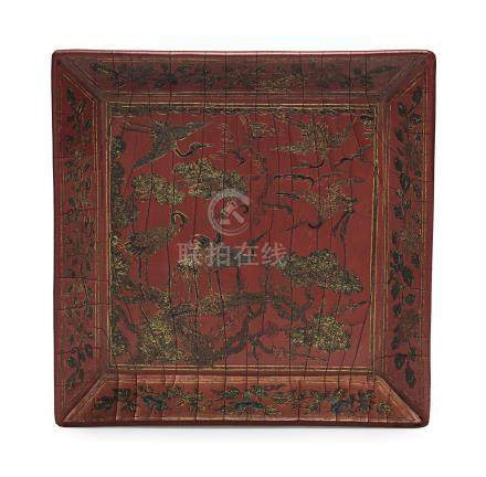 A QIANGJIN AND TIANQI LACQUER SQUARE TRAY