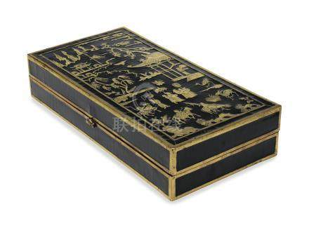 A BRASS-INSET BLACK LACQUER RECTANGULAR DOCUMENT BOX AND COVER