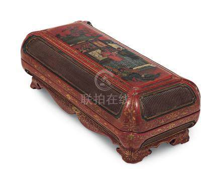 A PAINTED AND GILT-DECORATED RED LACQUER RECTANGULAR BOX AND COVER