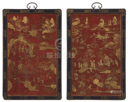 A PAIR OF GILT-DECORATED RED LACQUER PANELS