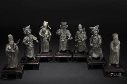 A GROUP OF PEWTER OPERA FIGURES