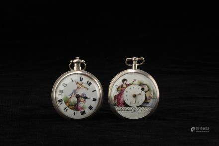 A PAIR OF VINTAGE SILVER POCKET WATCHES