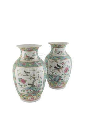 A PAIR OF FAMILLE ROSE PORCELAIN BALUSTER VASES, QING, MID 19TH CENTURY, with birds perched on