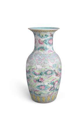 A FAMILLE ROSE BALUSTER VASE, 19th century, with flared rim and turquoise glazed interior, the