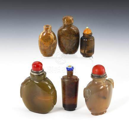 6 Snuffbottles - Mineralien.Six Snuff Bottles made of different Minerals, incl. Agate and Coral.Zwei