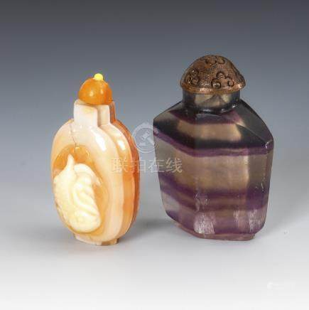 2 Snuffbottles - Mineralien.Two Snuff Bottles - One made of Amethist Quarz and One of Agate with