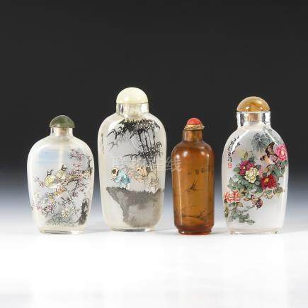 4 Snuffbottles - Glas mit Innenmalerei.Four Glass Snuff Bottles Painted Elaborately from the