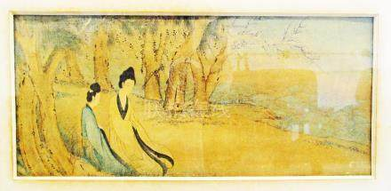 A Chinese rectangular drawing of two ladies by the sea, 24X55cm glazed and framed.