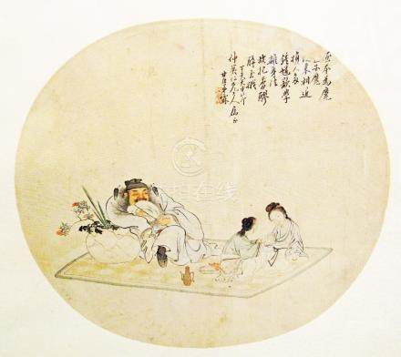 A Chinese round drawing mounted on silk, with an old man and two ladies, W27cm, glazed and framed.