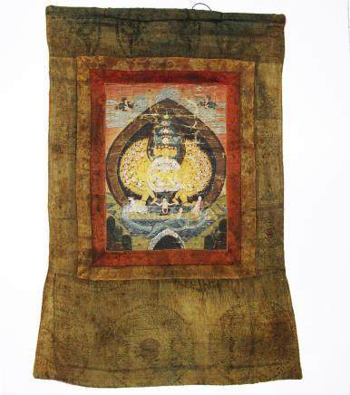 A Chinese / Buddhist Tibetan / Himalayan Thangka of the 1000 armed Avalokiteshvara with 11 heads and