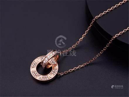 CARTIER LOVE 18K ROSE GOLD DIAMOND NECKLACE