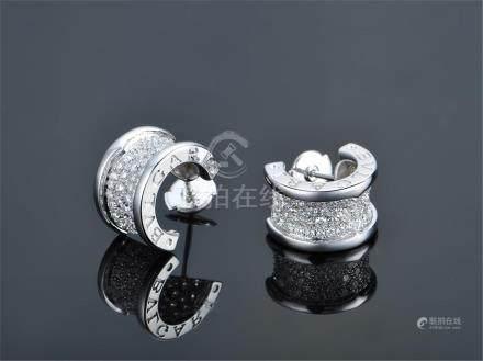 BVLGARI 18K WHTIE GOLD DIAMOND EARRINGS