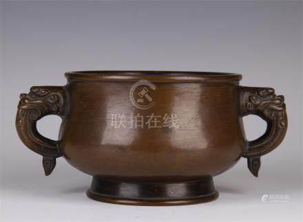 CHINESE BRONZE DRAGON HANDLE ROUND CENSER