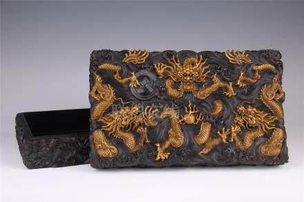 CHINESE BOXWOOD ZITAN HARDWOOND DRAGON SQUARE BOX