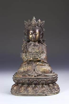 Chinese Bronze Figure of Manjushri