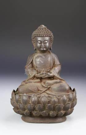 Chinese Cast Iron Figure of Shakyamuni