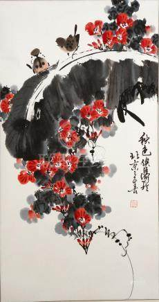 Chinese Scroll Painting of Birds and Flowers