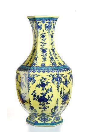 Yellow-Ground Underglazed-Blue Hexagonal Vase