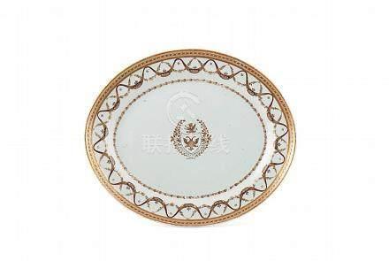 Travessa de formato elíptico em porcelana chinesa